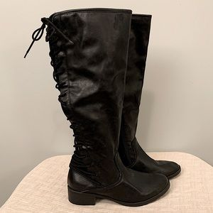 SM New York Black Leather Boots